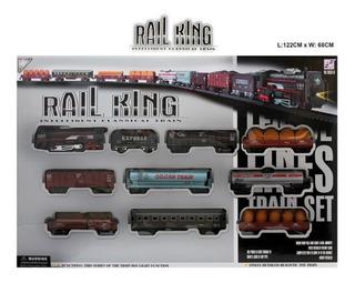 Tren 9 Vagones Luces Y Sonidos A Pila 122 X 68 Cm Rail King