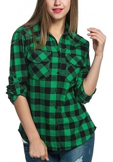 Camisas Entalladas Cuadros Mujer- Escocesa - Envíos Interi