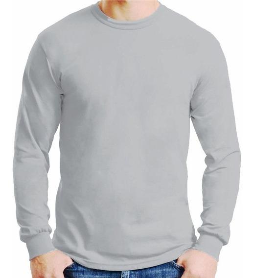 Camiseta Manga Longa Algodão 100% Camisa Básica Lisa Blusa