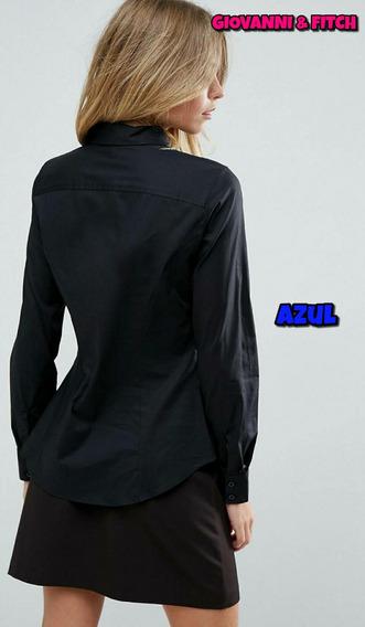 Camisa Elastizada Lisa Dama Ideal Bordar Empresas Premium +