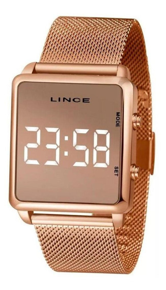 Relogio Lince Digital Led Rose Gold Espelhado Mdr4619l Bxrx
