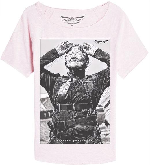 Camiseta Feminina Nostalgia Nv30 Nascidos P/ Voar Paraquedas