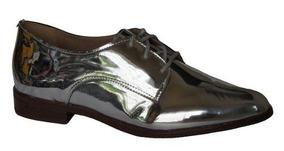 Sapato Oxford Flor Do Mar Metalizado - 320932842 Prata