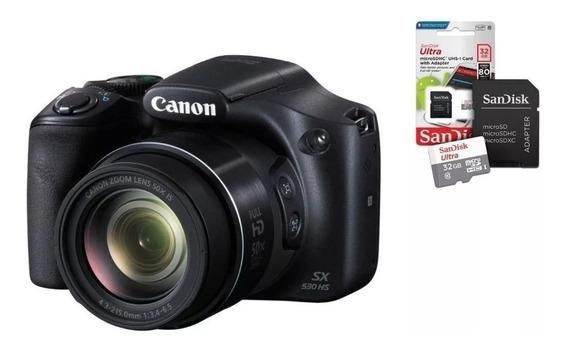 Camera Semi-profissional Canonsx530 Hs 50x Zoom + Cartão 32gb + Bolsa