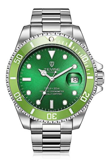 Tevise T801a Senhores De Aço Inoxidável Relógio Mecânico