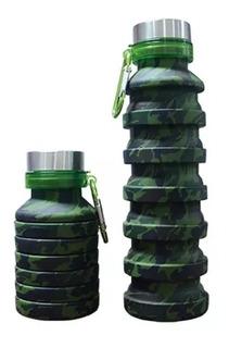 Botella Camuflajeada Militar 550 Ml Grado Alimenticio Plegab