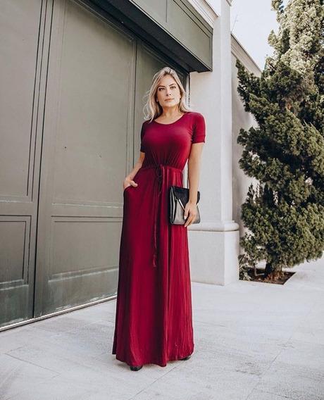 Vestido Longo Basico Feminino Liso Azul Marinho Marsala Elegante Tendencia Moda Casual 2020