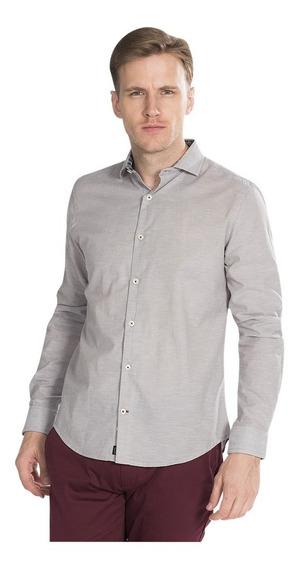 Camisas Hombre Slim Fit Casuales Gris Lisa Moda B85319