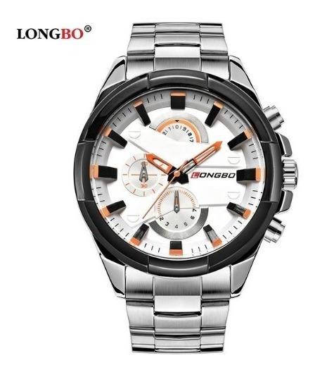 Relógio Longbo Prata Masculino Grande Aço Inoxidável 80242