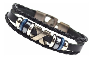 Pulseira Bracelete Masculina Feminina Em Couro E Metal