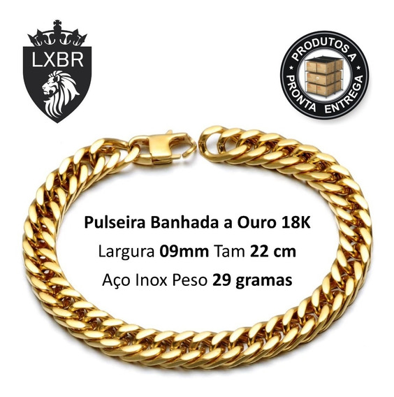Pulseira Corrente 9mm 22cm Ouro 18k Hip Hop Duplo Lxbr Bl49a