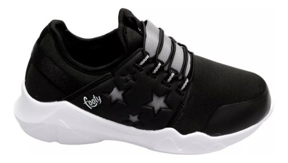 Zapatillas Negras Footy Deportivas Nuevas Elastizadas