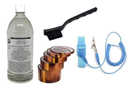 Kit Eletrônica: Alcool + Pulseira Esd + Fita Esd+ Escova Esd