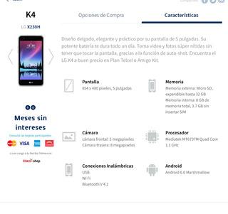 Venta Celular K4 Lg