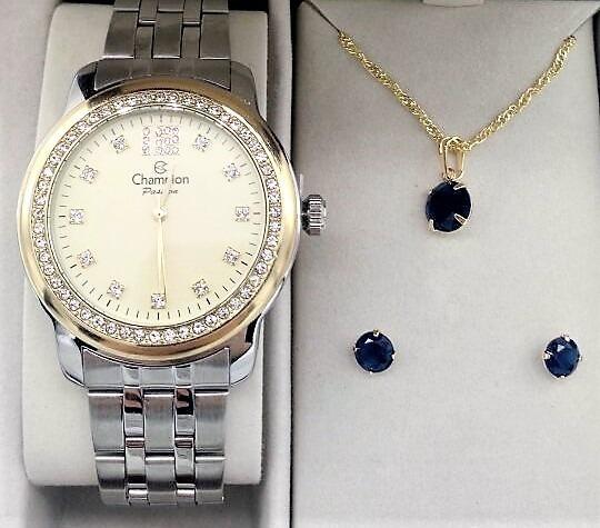 Relógio Champion Dourado Visor Dourado Strass Cn29954e