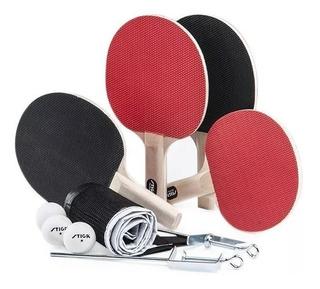 Set Stiga 4 Paletas + Red + 3 Pelotas Ping Pong Olivos
