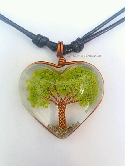 Colar Orgonite Coração Pedra Quartzo Verde