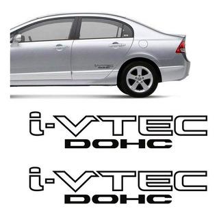 Par Adesivos I-vtec Dohc Tuning Carro Honda Civic