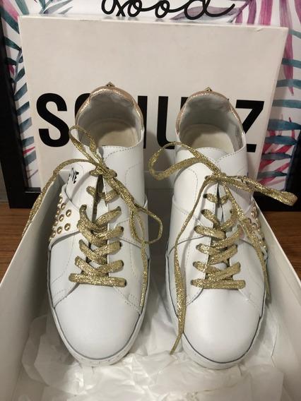 Tênis Schutz Branco E Dourado