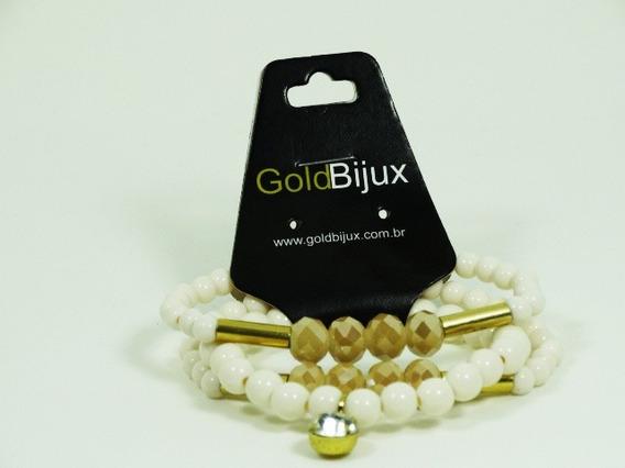 Kit Pulseiras Femininas Cor Marfim Dourado Pedra Branca
