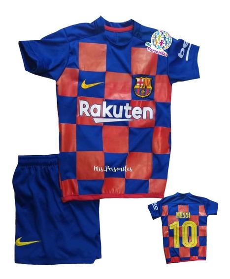 Conjunto Uniforme Futbol Barcelona Real Madrid 2019 Niños