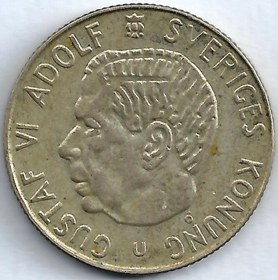 Suecia 1964 1 Krona Moneda De Plata 7gramos Gustaf V L24520