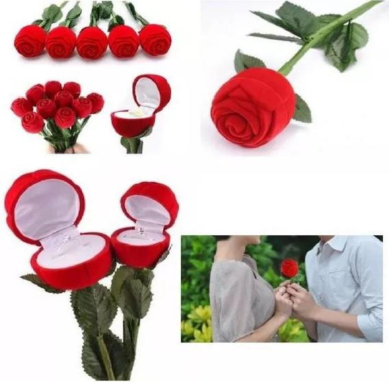 Flor Porta Anillos Rosa Roja Estuche Compromiso Ficticia