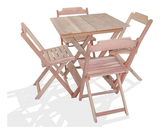 Jogos Conjuntos Mesa Bar Dobrável 70x70 4 Cadeiras Madeira(s