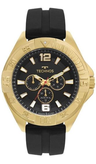 Relógio Technos Masculino Original 6p29ako/8p Big Case Dourado C/ Nota