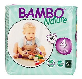 Bambo Naturaleza Maxi Bebé Pañales, Tamaño 4, 180