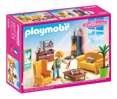 Playmobil Sala De Estar Con Fuego 5308 Dollhouse Ink Edu