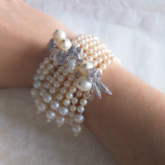 Pulseira Com Pérolas E Diamantes Da Designer Ruth Grieco