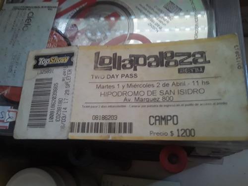 Ingresso Antigo Pro Festival Lollapalooza Two Day Pass 2014.