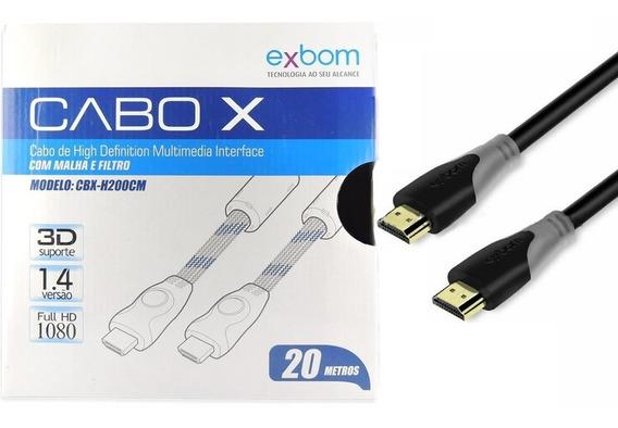 Cabo Hdmi 20m 1.4 Ethernet 20 Metros Full Hd 3d 1080p Exbom