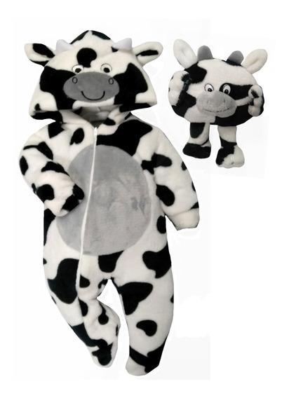 Mameluco Con Gorro Bordado Vaca Y Peluche