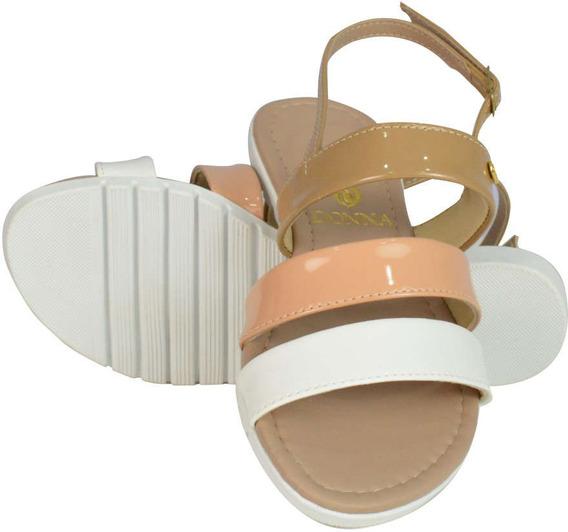 Sandália Cabedal Nude E Branco - Aproveite Já