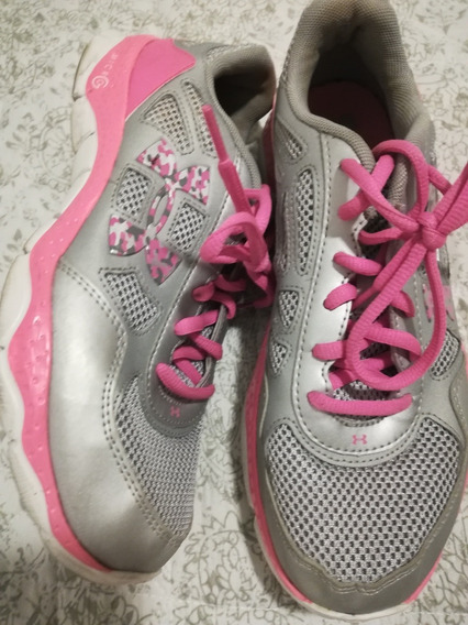 Zapatillas Under Armour Gris Plateado Rosa Running 39 Ny