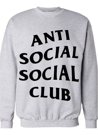 Buzo Gris Unisex Frisa Antisocial Social Club Sublimado