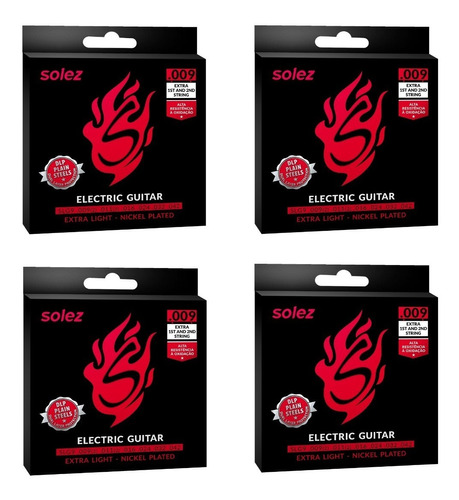 Kit 4 Encordoamentos Solez Para Guitarra Slg10 0.009/0.042