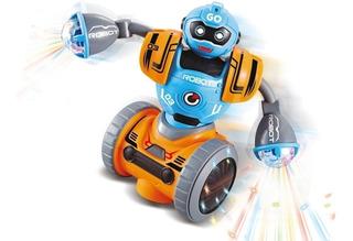 Robot C Movimiento Luz Sonido Musica Bebe Duende Azul Cadia