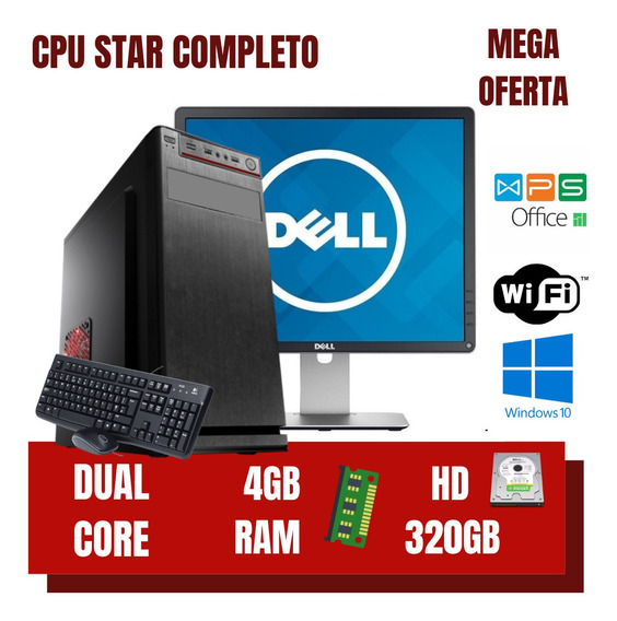 Cpu Dual Core 4gb Ram Hd 320gb Win10 Completo + Programas !!