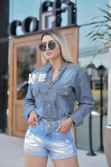Camisa Blusa Manga Longa Jeans