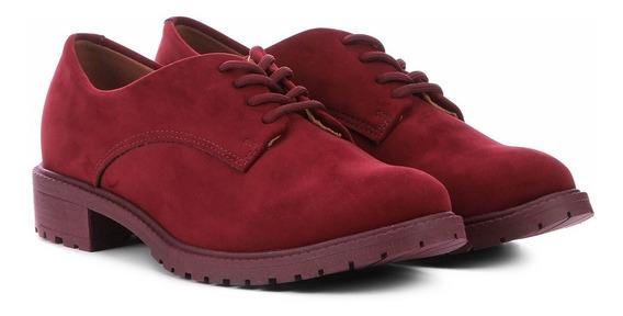 Sapato Feminino Oxford Vizzano Tratorado Bico Redondo Vinho