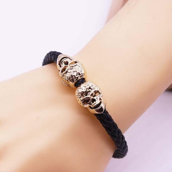 Pulseira Bracelete Caveira Masculina Dourada Frete Grátis