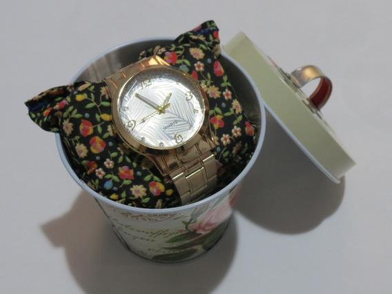 Relógio De Pulso Dourado Quartz
