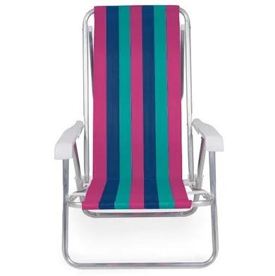 Cadeira De Praia Reclinável Alumínio 8 Posições - 2233