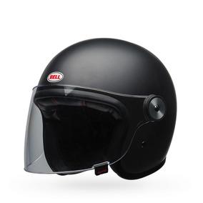 Capacete Bell Riot Solid Preto Fosco Custom Harley Retro