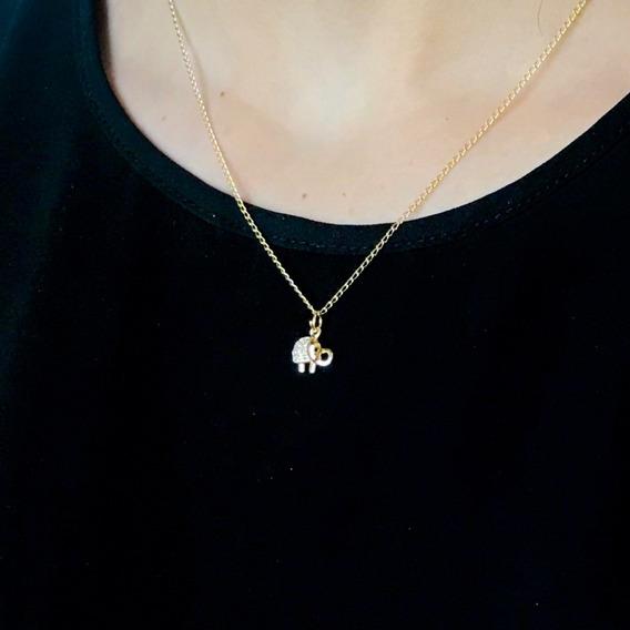 Collar Elefante Mini Con Zirconias Chapa De Oro 18k Regalo