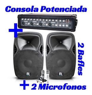 Combo 2 Bafles Pasivos + 2 Microfonos + Consola Potenciada