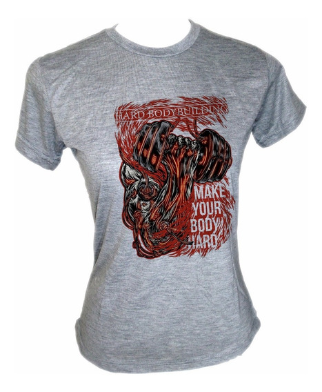 Camiseta Baby Look Musculação Academia Crossfit Hard Body